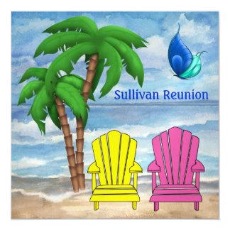"""Reunión de la playa - SRF Invitación 5.25"""" X 5.25"""""""