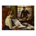 Reunión de negocios del vintage, ejecutivos en tarjeta postal