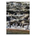 Reunión de pingüinos tarjeta de felicitación