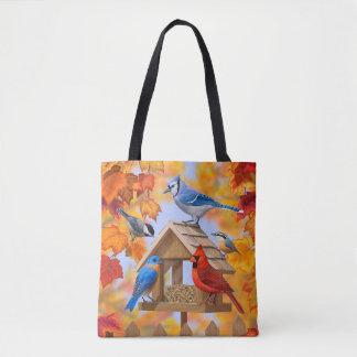 Reunión del alimentador del pájaro del otoño bolsa de tela
