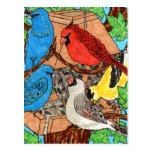 Reunión del alimentador del pájaro postal