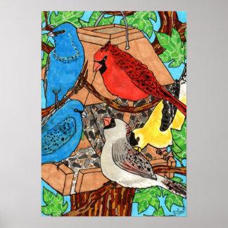 Reunión del alimentador del pájaro póster