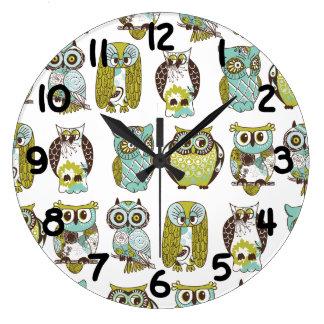 reunión del búho reloj redondo grande