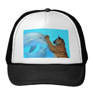 Reunión del delfín y del tigre gorros bordados