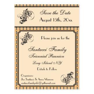 Reunión del diseño del vintage, acontecimiento, postal