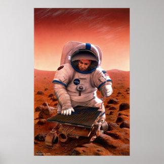 Reunión del hombre y del Sojourner en Marte Póster