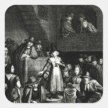 Reunión del Quaker, 1699 Pegatina Cuadrada