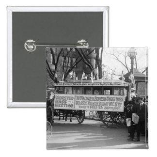 Reunión del sufragio, 1919 pin cuadrado