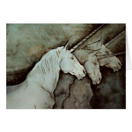 Reunión del unicornio tarjeta de felicitación