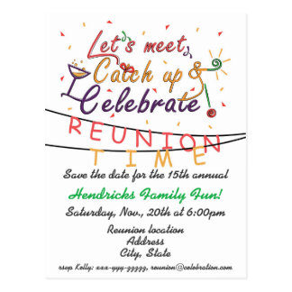 Reunion design for families, school mates, peers postcard
