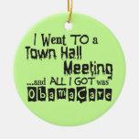 Reunión en el ayuntamiento ObamaCare Ornaments Para Arbol De Navidad