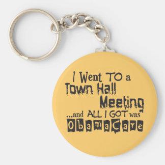 Reunión en el ayuntamiento ObamaCare Llavero Redondo Tipo Pin