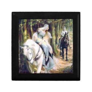 Reunión medieval del bosque de la señora del cabal joyero cuadrado pequeño