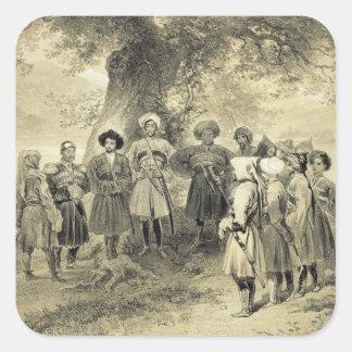 Reunion of Tcherkesse Princes, Sodja Valley, on th Square Sticker