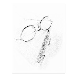 Reunion or Hello Fountain Pen and Glasses Sketch Postcard