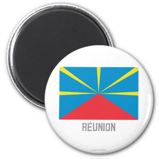 Réunion proposed flag with name 2 inch round magnet