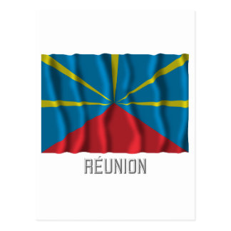 Réunion proposed waving flag with name postcard