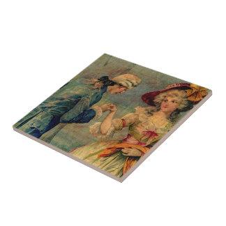 Reunión romántica azulejo cuadrado pequeño