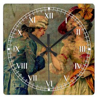 Reunión romántica reloj cuadrado