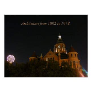 Reunion Tower 1978 & Old Red 1892 Print