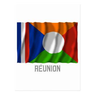 Réunion waving flag with name postcard