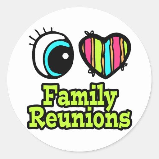 Reuniones de familia brillantes del amor del pegatina redonda
