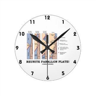 Reunite Farallon Plate! (Geology Plate Tectonics) Round Wallclocks