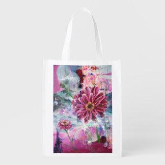Reusable Bag Abstract Art Pink Garden Flower Reusable Grocery Bags