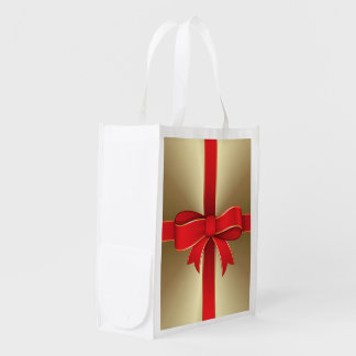Reusable Bag - Red Bow & Ribbon on Gold