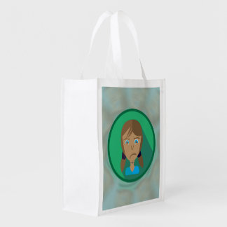 Reusable Bag SAD GIRL CARTOON Grocery Bag