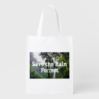 Reusable Bag Save the Rain Forrest Grocery Bags