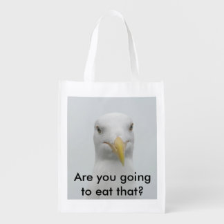 Reusable bag - seagull hoping for a handout market tote