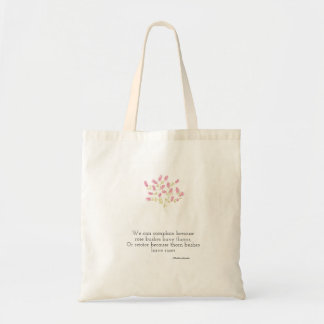 Reusable bag (tote) with flowers and quote