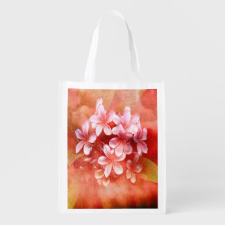 Reusable Bag - Watercolor Pulmaria Bouquet4 Grocery Bags