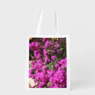 Reusable Bag with Bougainvillea Flowers Grocery Bags