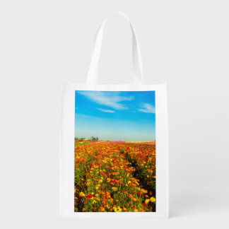 Reusable Bag with picture of flower field. Grocery Bags
