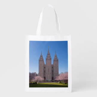 Reusable Bag With picture of SLC temple Pink Grocery Bag