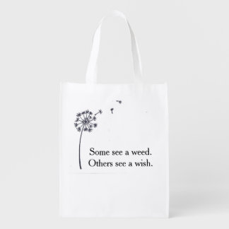 Reusable folding bag - dandelion wish market totes
