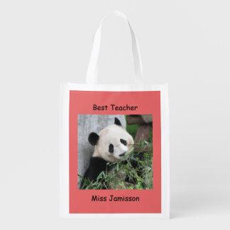 Reusable Grocery Bag, Coral, Giant Panda, Teacher Market Totes