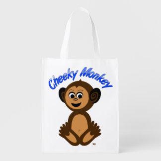 "Reusable Grocery Bag, Graphic ""CHEEKY MONKEY"" Grocery Bag"