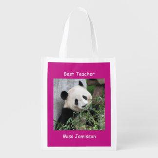 Reusable Grocery Bag, Hot Pink Giant Panda Teacher Market Totes