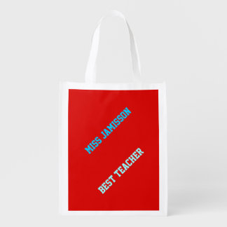 Reusable Grocery Bag, Red, Blue Best Teacher Grocery Bags
