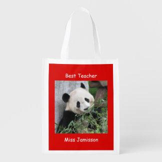 Reusable Grocery Bag Red, Giant Panda Best Teacher