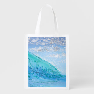 Reusable Grocery Bag: Surf Art for Ocean Lovers