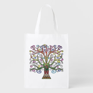 Reusable Grocery bag with Colorful Tree