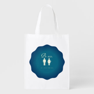 Reusable grocery sack tells people to be nice grocery bags