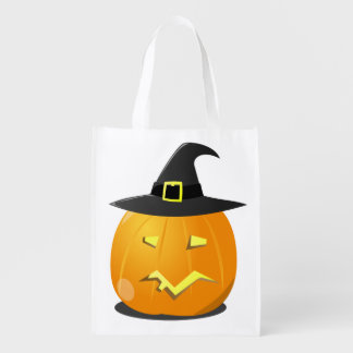 Reusable Halloween Bag with Jack o' Lantern Witch Grocery Bags
