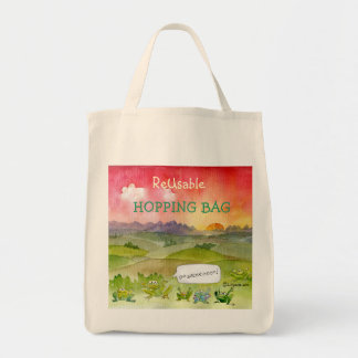 ReUsable Hopping Bag Frogs Tote