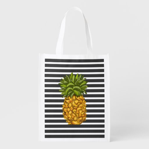 Reusable Pineapple Grocery Tote Bag Market Tote