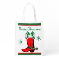 Reusable Shopping Bag Cowboy Boot Merry Christmas
